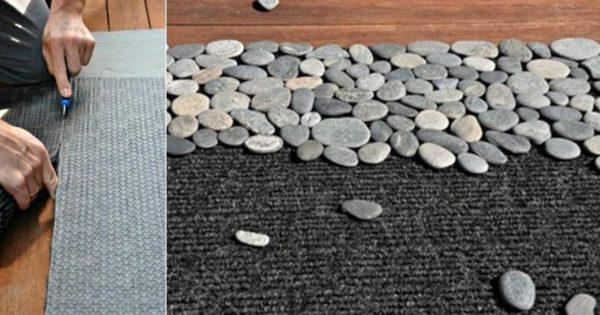 Ella simplemente pegó piedras a una alfombra corriente. ¡Al ver el resultado, quise tener una igual!