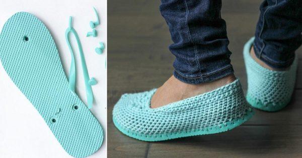 Nuevas zapatillas de chanclas antiguas con tus propias manos