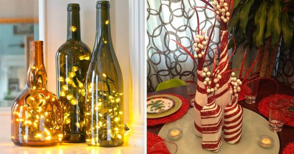 ¡Impresionantes decoraciones navideñas de botellas! 26 ideas muy originales.