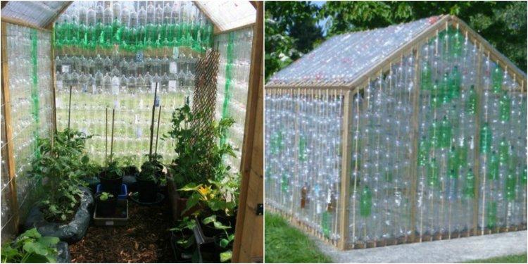 Invernadero hecho de botellas de plástico