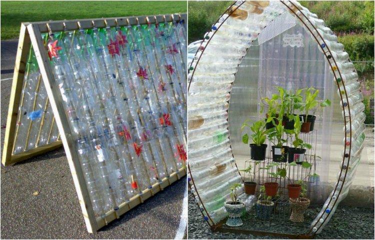 Invernadero hecho de botellas de pl stico - Fabricar un invernadero ...