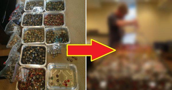 Él recogió las tapas metálicas de las botellas, a lo largo de 5 años, y las recicló… ¡Mira lo que hizo con ellas!