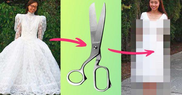 Ella cogió un vestido holgado barato e hizo algunas manipulaciones… ¡El resultado no tiene nada que envidiar a un couturier famoso!