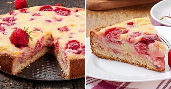 Instrucciones para hacer un pastel con fresas en yogurt.