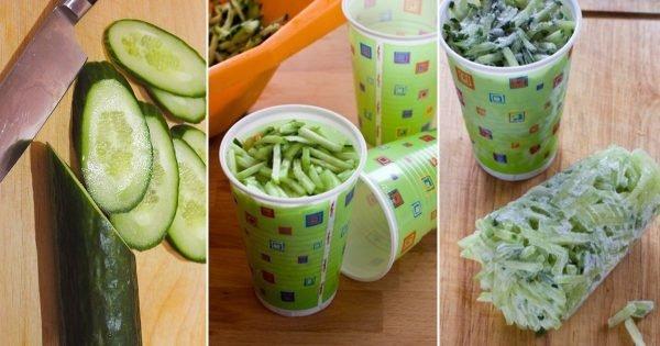 ¿Por qué debemos cortar los pepinos en cubos pequeños, y congelar?