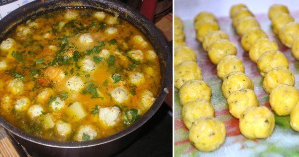 Receta de sopa de verduras con bola de queso.
